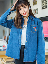 Sign 2017 Spring new denim shirt jacket female Harajuku College Wind Korean tidal BF loose big yards
