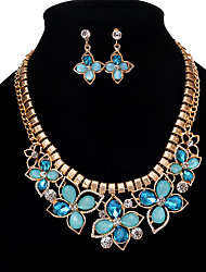 cheap -Women's Crystal Jewelry Set - Crystal, Rhinestone, Opal Flower Personalized, Vintage, Euramerican Include Necklace / Earrings Light Yellow / Blue / Pink For Wedding Party Special Occasion