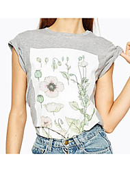 2017 spring and summer women new flower print short sleeve