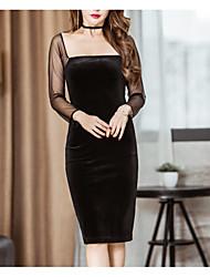 Signe spot 2017 printemps sexy slim collier dames vent suède maillot manches longues robe