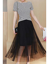 baratos -moda atirar verdadeira moda terno 2.017 verão saia do sexo feminino novo camisa listrada + gaze de duas peças