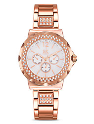 cheap -Women's Fashion Watch Simulated Diamond Watch Chinese Quartz Water Resistant / Water Proof Shock Resistant Imitation Diamond Alloy Band