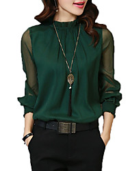 Women's Work Vintage Sophisticated All Seasons Shirt,Solid Stand Long Sleeves Rayon Polyester