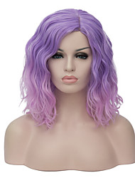 cheap -Fashion Women Wig Pink purple Ombre Hair Short Wavy Bob Haircut Party Costume Wig
