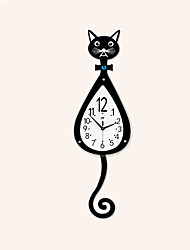 cheap -Cartoon Cute Cat Mute Wall Clocks
