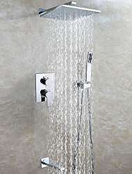 Easy-mount Box Bathroom Shower Faucet Set / 25X25 CM Brass Chrome Rain Shower Head / Hand Shower Included