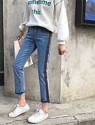 segno di primavera nuovi personalizzati jeans di banda laterale ricamata femminile selvaggio nove jeans dritto nett