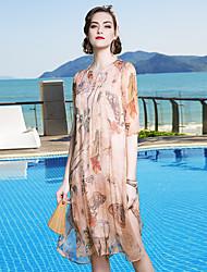Linea A Vestito Da donna-Casual Spiaggia Per uscire Semplice Sofisticato Fantasia floreale Rotonda Al ginocchio Seta Primavera EstateA