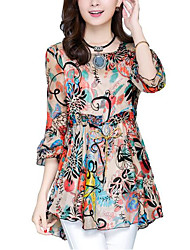 cheap -Women's Flare Sleeve Polyester Loose Blouse - Multi Color, Print