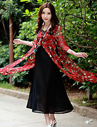 Sign national wind summer new fake two-piece dress fifth sleeve floral dress long section of Chinese style