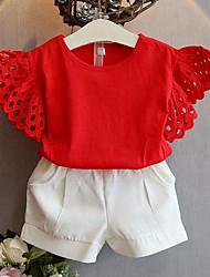 Pige Tøjsæt Daglig I-byen-tøj Ensfarvet, Rayon Sommer Uden ærmer Kortærmet Afslappet Gade Rød Gul