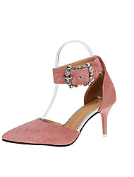 cheap -Women's Sandals Club Shoes PU Spring Summer Casual Dress Party & Evening Club Shoes Rhinestone Buckle Stiletto HeelBlack Blushing Pink