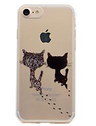 billiga -fodral Till Apple iPhone 7 Plus iPhone 7 Genomskinlig Mönster Skal Katt Mjukt TPU för iPhone 7 Plus iPhone 7 iPhone 6s Plus iPhone 6s