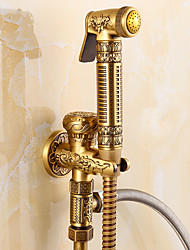 cheap -Antique Shower Only Handshower Included Ceramic Valve One Hole Single Handle One Hole Antique Brass, Bidet Faucet