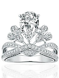 925 Ring Crown Unique Design Wedding Party Daily Jewelry Sterling Silver Zircon Ring 1pcAdjustable Silver