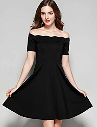 Women's Going out Casual/Daily Little Black Dress,Solid Boat Neck Above Knee Sleeveless Cotton Summer Fall Mid Rise Micro-elastic Medium