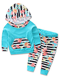 Girls Baby Print Sets Cotton Polyester All Seasons Spring Fall Long Sleeve kids  Clothing Set