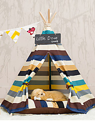 Cat Dog Bed Pet Mats & Pads Stripe Tent Rainbow