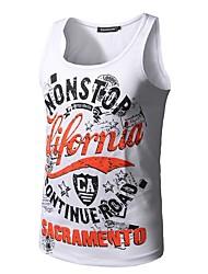 cheap -Men's Daily Sports Active Summer All Seasons T-shirt,Print Letter Round Neck Sleeveless Polyester Medium