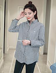 Sign spring new Korean Institute of wind long-sleeved striped shirt female wild
