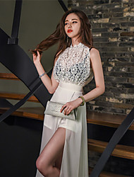 20107 Korean version of the new Slim Long Halter dress lace flowers temperament sleeveless dress