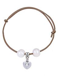 Lureme Cultured Freshwater Pearl Khaki Adjustable Leather Bracelet with Heart Pendant