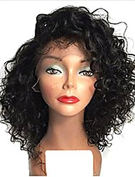 cheap -Full Lace Wig Brazilian Hair 120% / 130% Density Natural Hairline / African American Wig Women's Short Human Hair Lace Wig / Curly