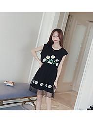 # 2016 лето новый длинный отрезок шифона платье поддельные из двух частей случайный женский марли zhitong qun