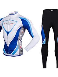 Realtoo Fahrradtrikots mit Fahrradhosen Herrn Langarm Fahhrad Kleidungs-Sets warm halten Rasche Trocknung Fleece Innenfutter UV-resistant
