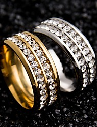 cheap -Women's Couple Rings Unique Design Stainless Steel Zircon Round Jewelry For Wedding Party Special Occasion Daily Casual
