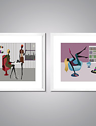 Framed Art Print Leisure Cartoon Modern,Two Panels Canvas Square Print Wall Decor For Home Decoration