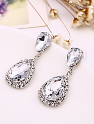 cheap -Full Crystal Drop Shape Earrings Jewelry Basic Design Sexy Cute Style Wedding Party Halloween Daily Alloy 1 pair Silver