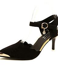 Da donna Sandali Club Shoes PU (Poliuretano) Primavera Estate Casual Formale Club Shoes Con diamantini Fibbia A stiletto Nero Rosso Rosa