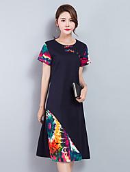 2017 signe les femmes d'été&# 39; vent national d'origine a frappé le coton de couleur à manches courtes lâche robe longue de l'alinéa