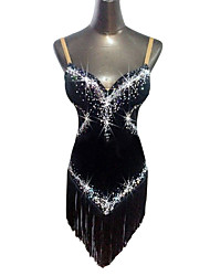 Latin Dance Dresses Women's Performance Velvet Crystals/Rhinestones Tassel(s) 1 Piece Sleeveless Natural Dress
