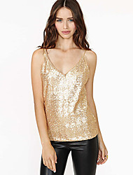 BAY AliExpress E Hot Sexy gold sequined straps Heavy beads Slim thin V-neck vest female