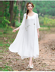 Sign spring and summer 2016 new Chinese style hand-painted plain linen dress fairy