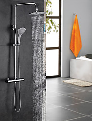 cheap -Contemporary Art Deco/Retro Modern Shower System Rain Shower Handshower Included Thermostatic Ceramic Valve Two Holes Two Handles Two
