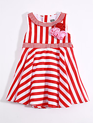 cheap -Girl's Daily Striped Dress, Cotton Linen Summer Sleeveless Stripes Red