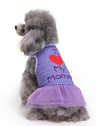 cheap -Cat Dog Dress Dog Clothes Summer Letter & Number Cute Fashion Casual/Daily Purple Cotton Pet Clothing