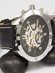 Недорогие -Муж. Модные часы Кварцевый Кожа Черный Аналоговый На каждый день - Черный и золотой Серебристый / белый Черный / Серебристый