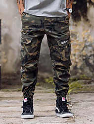 Da uomo A vita medio-alta Semplice Media elasticità Chino Pantaloni,Largo Harém Camouflage