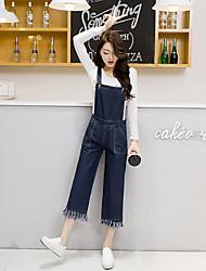 Sinal 2017 primavera nova versão coreana das calças de perna larga com grandes bolsos franjados macacões jeans nove mulheres la