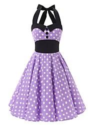 cheap -Women's  Vintage Rockabilly Dress Purple White Polka Dot Halter Knee-length Sleeveless Cotton All Seasons