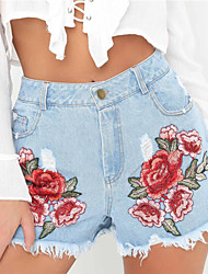 Women's Mid Rise Micro-elastic Jeans Shorts Pants,Vintage Simple Street chic Slim Ripped Embroidered Print
