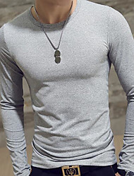 cheap -Men's Daily Sports Casual T-shirt,Solid V Neck Long Sleeves Rayon Thin
