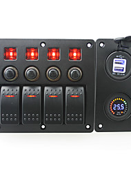 cheap -IZTOSS red led DC24V 4 Gang on-off rocker switch curved panel and circuit breaker with label stickers and blue led 3.1A USB power socket and DC24V vol