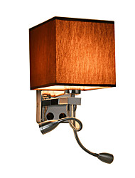 cheap -Wall Lights with Led Reading Light and On/off Switch Metal with Fabric shade, E27 Bulb not included
