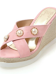 Women's Sandals Comfort Slingback Leatherette Spring Summer Casual Outdoor Dress Comfort Slingback Beading Imitation Pearl Wedge Heel