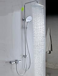 Contemporaneo Vasca e doccia Doccia a pioggia Ampio spray Docetta inclusa with  Valvola in ottone Due maniglie Due fori for  Cromo ,